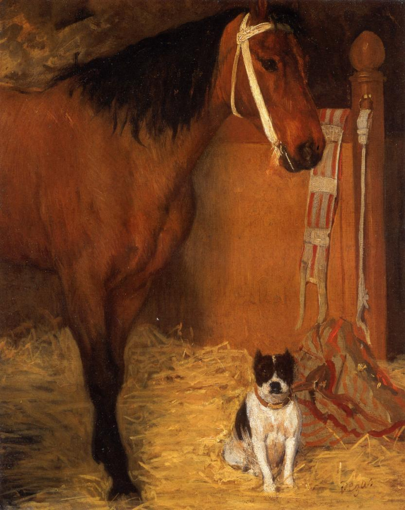 At the Stables, Horse and Dog 1861