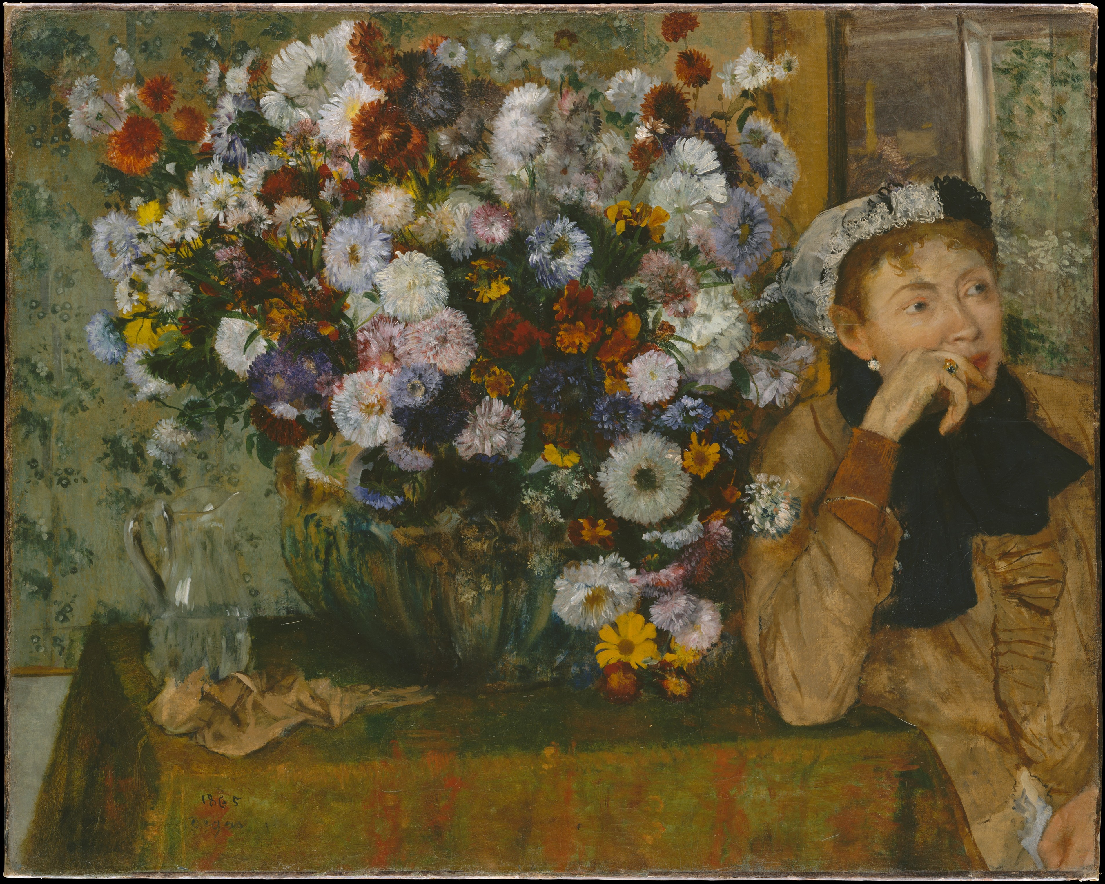 A Woman Seated beside a Vase of Flowers 1865