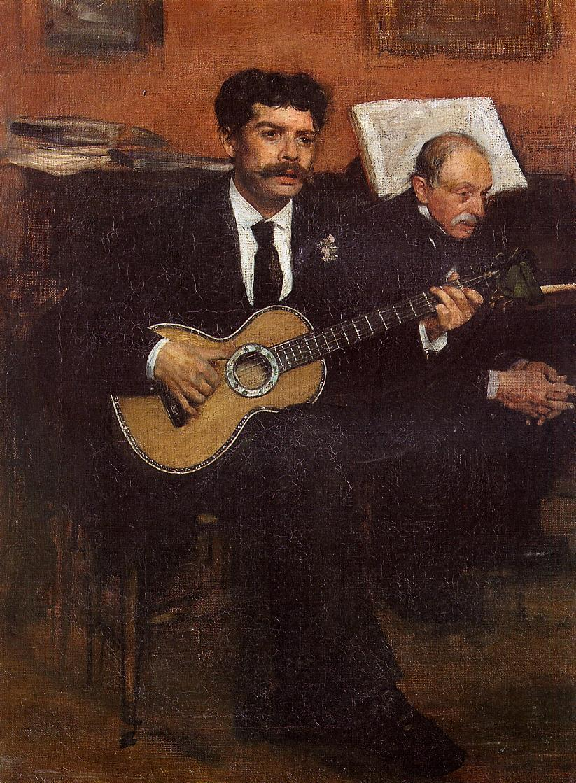 Portrait of Lorenzo Pagans, Spanish tenor, and Auguste Degas, the artist's father 1869